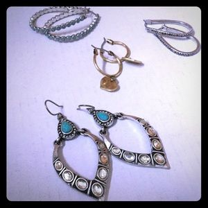 Lucky Brand 🍀 Hoop Earring Lot ! Turquoise Silver